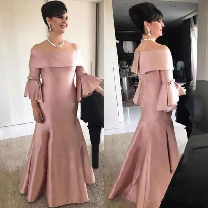 Modest Mermaid Mother Of The Bride Dresses Off The Shoulder Trupment Long Sleeves Wedding Guest Dress Floor Length Formal Gown