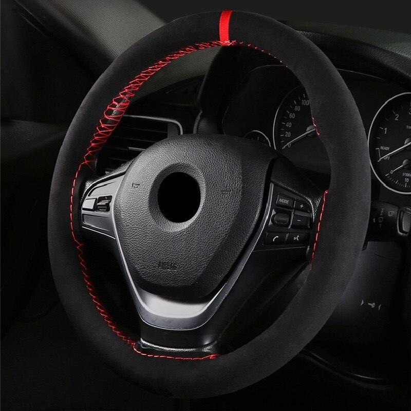 Универсальный кожаный чехол для руля автомобиля DIY 36/38/40 см, противоскользящий держатель для спортивного стиля, подходит для большинства ав...