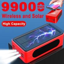 Внешний аккумулятор на солнечной батарее, 99000 мАч, 4 USB-порта