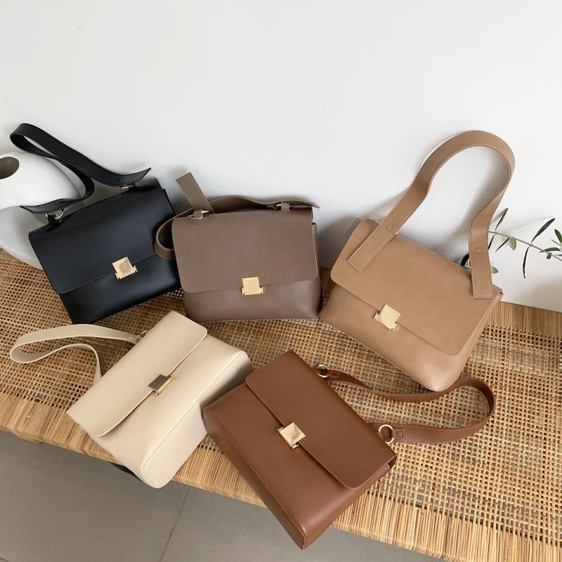 Casual Retro Women Shoulder Bags Designer Brand Chic Strap Female Handbags Luxury Pu Leather Crossbody Messenger Bag Large Purse