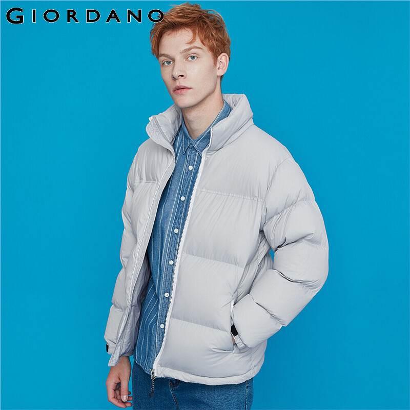 Giordano Men Down Jackets Stand Collar 90% White Duck Down Jacket Nylon Windproof Slant Pockets Soild Doudoune Homme 01079750