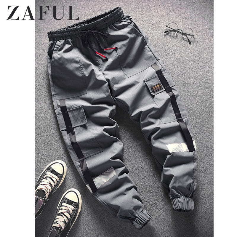 ZAFUL Strap Spliced Applique Casual Jogger Pants For Men Mid Waist Long Splicing Drawstring Beam Feet Long Pants Autumn Spring