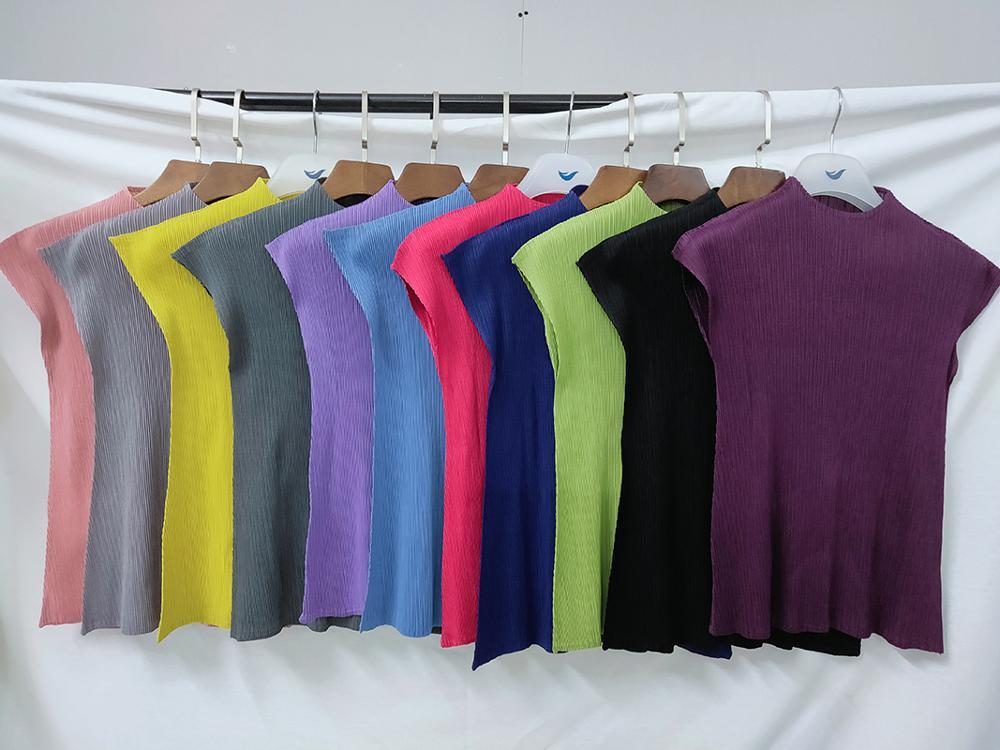 Camiseta negra sin mangas para mujer, ropa estética plisada, camiseta de miyake harajuku kawaii, Camisetas estampadas TP2145 2020 Camisetas  - AliExpress