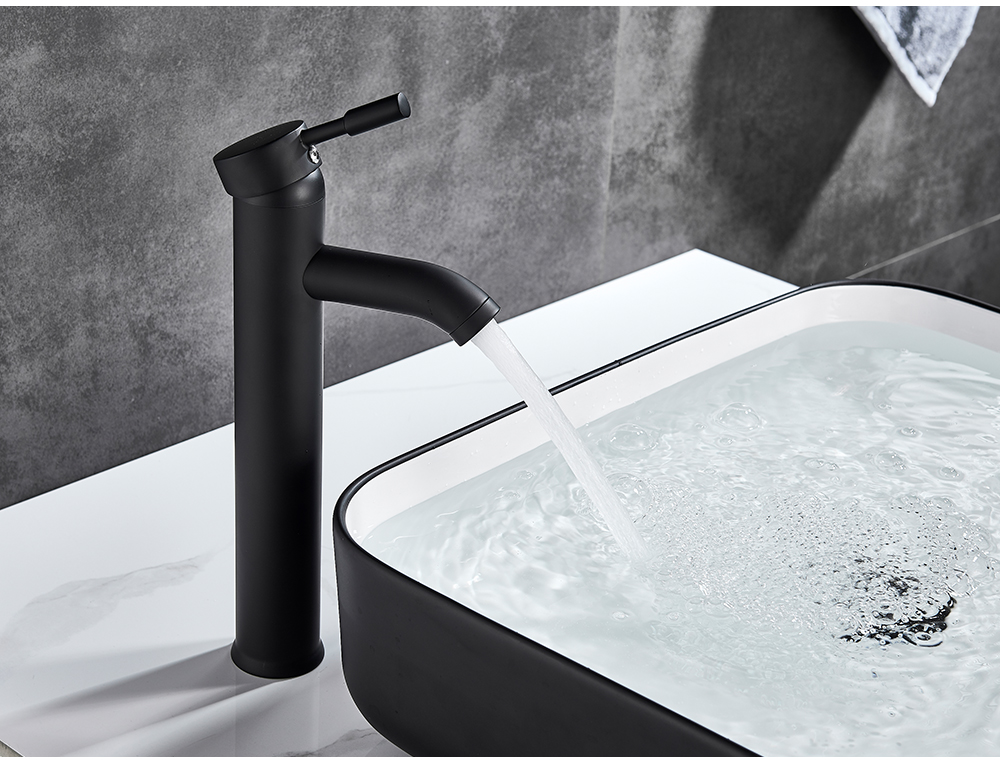 H3c08c457760f42a4864fc9495894002cX POIQIHY Bathroom Basin Faucets Cold/Hot Mixer Basin Sink Tap Black Golden Water Kitchen Faucet Bathroom Vessel Sink Tap One Hole