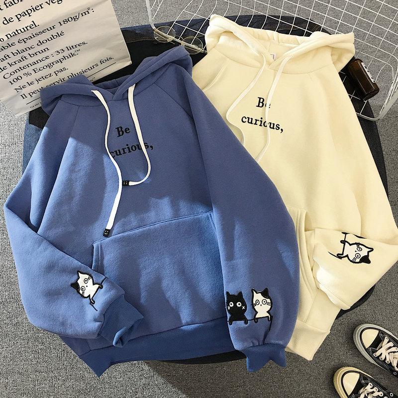 Harajuku Cat Printed Long Sleeve Hoodies Women Winter Autumn Plush Fleece Hooded Sweatshirt Cute Patchwork Pockets Pullover Tops