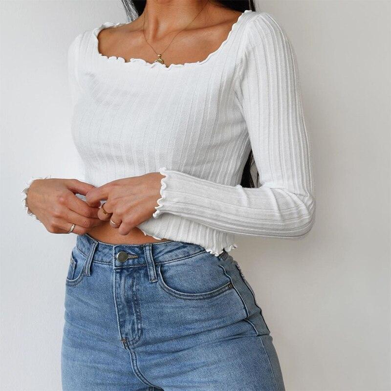 Купить осенняя однотонная вязаная футболка iamhotty в стиле харадзюку