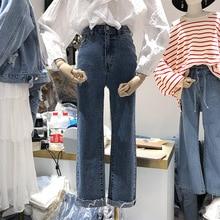 2019 Autumn Pants New Women Matching Temperament Blue Jeans Straight Pockets Fake Zippers Woman