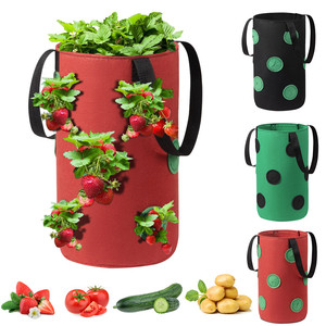 Hanging Strawberry Planting Felt Cloth Planting Container Bag Thicken Garden Pot Plant Grow Bag With Visualization Pockets