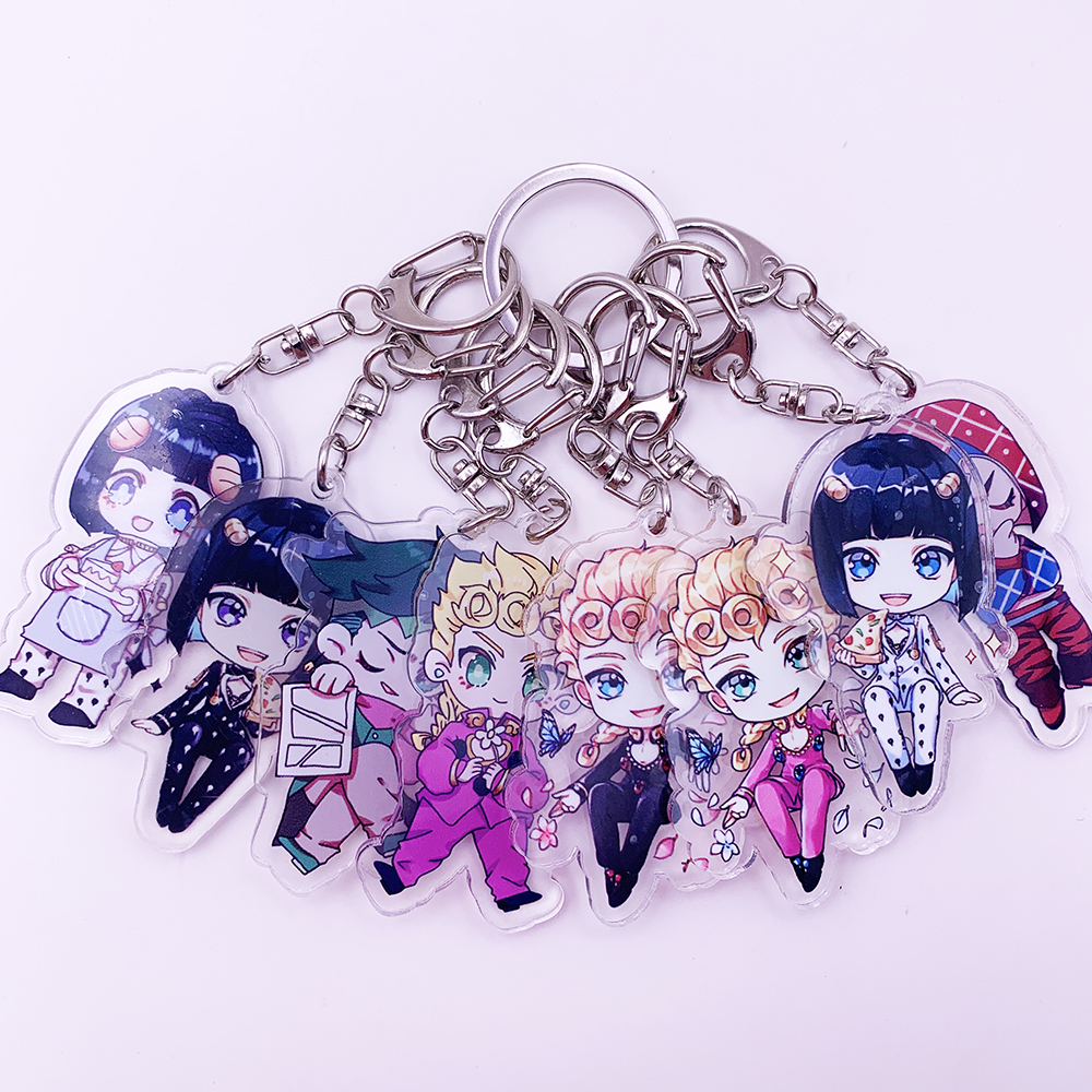 Anime JoJos Bizarre Adventure Acrylic Keychain Cartoon Jotaro Kujo Figure Keyring Gifts Key Holder Pendant Accessories Key Chain