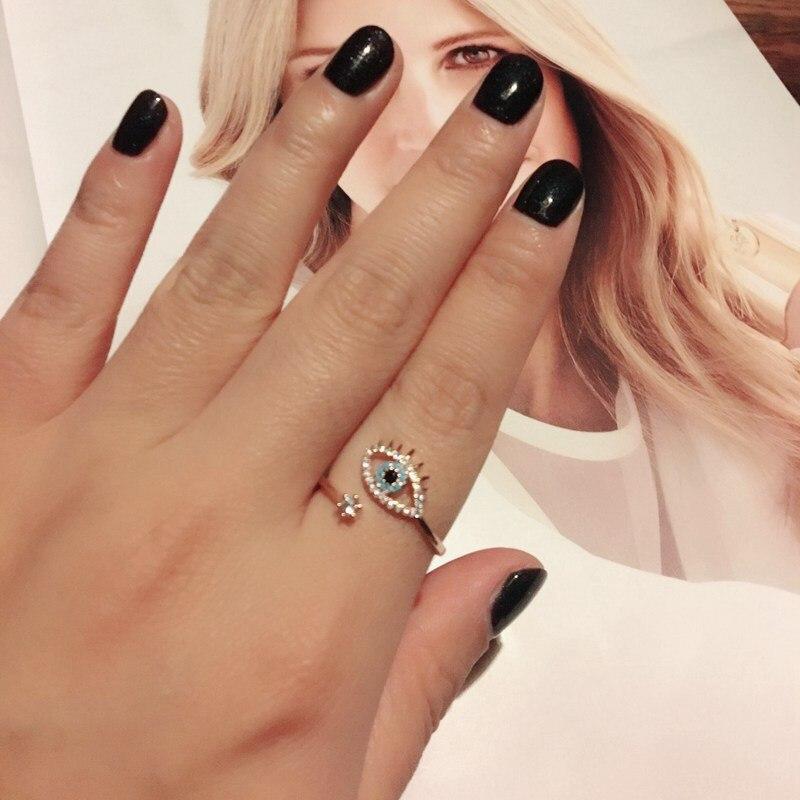 SIPENGJEL Tiny Trendy Cubic Zirconia green Eye Rings Rose Gold black eye Adjustable Rings For Women Girls Luxury Wedding Jewelry 2