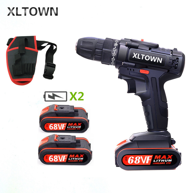 XLTOWN 21V Electric Screwdriver Home Cordless Drill Rechargeable Lithium Battery Electric Screwdriver With Impact Drill Function