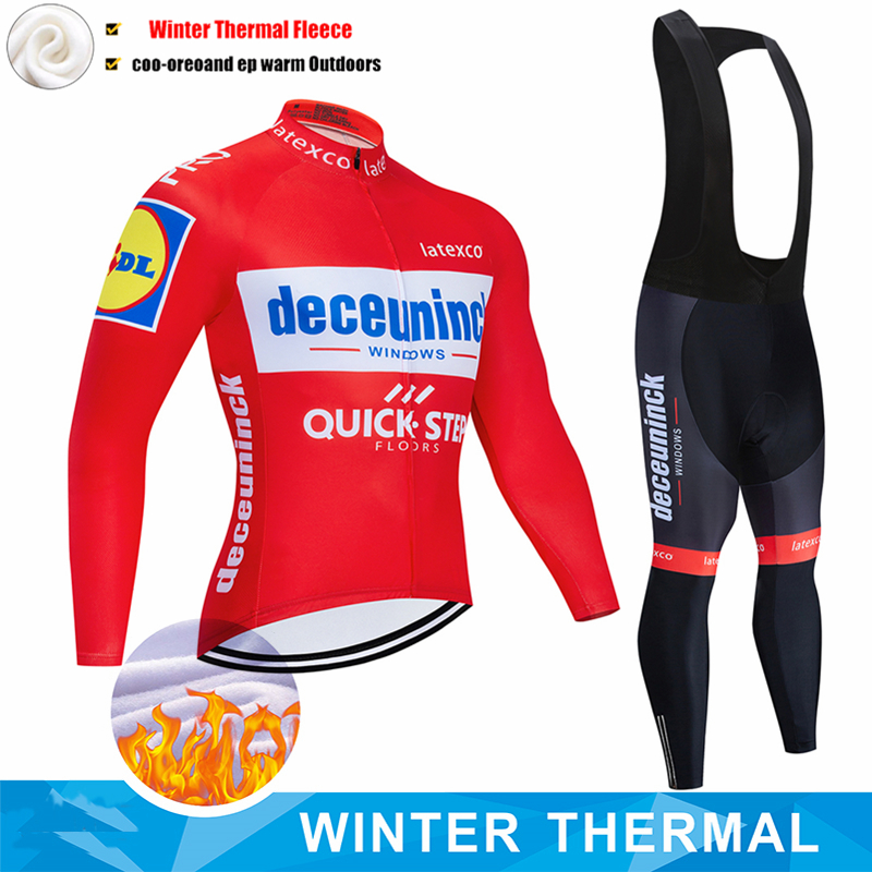 NEUE Pro Team QUICK STEP Radfahren Jersey 19D Bib Set Belgien Bike Kleidung Herren Winter Thermische Fleece Fahrrad Kleidung Radfahren tragen