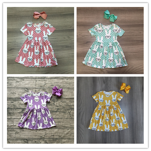 Baby Girls Easter Dress Girls Short Sleeve Dress With Bunny Print Girls Soft Milk Silk Dress Girls Boutique Dress With Bows