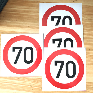 CS-1490#16*16cm Speed limit, 70 km per hour waterproof car sticker PVC printed full color sticker for auto car stickers styling