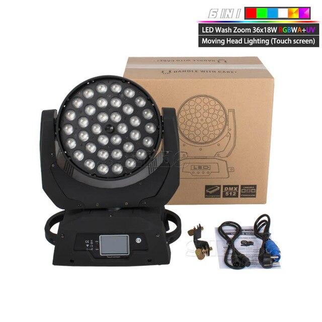 LED hareketli kafa yıkama ışık LED yakınlaştırma yıkama 36x18W RGBWA + UV renkli DMX sahne hareketli kafaları yıkama dokunmatik ekran için DJ disko gece kulübü