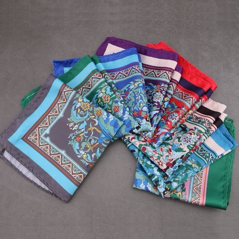 Newest Mens Pocket Square Handkerchief Floral Print Soft Style Hanky Man Suit Chest Towel Accessories For Wedding Party Gift