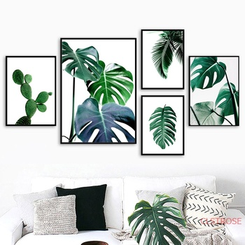 Fresh Green Cactus Big Tropical Leaves Wall Art Canvas Painting Plants Nordic Posters And Prints Wall Pictures For Living Room Leather Bag Palm leaf arrangement tropical metal wall art. fresh green cactus big tropical leaves wall art canvas painting plants nordic posters and prints wall pictures for living room