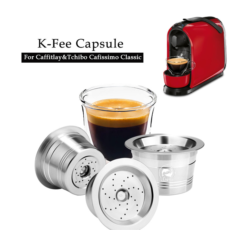Icafilas 친환경 스테인레스 스틸 k 수수료 및 caffitaly refilable 필터 tamper 재사용 가능한 커피 캡슐 fit tchibo machine