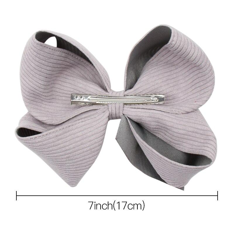 "Girls Handmade silver grey velvet 3/"" bow clip vintage look"