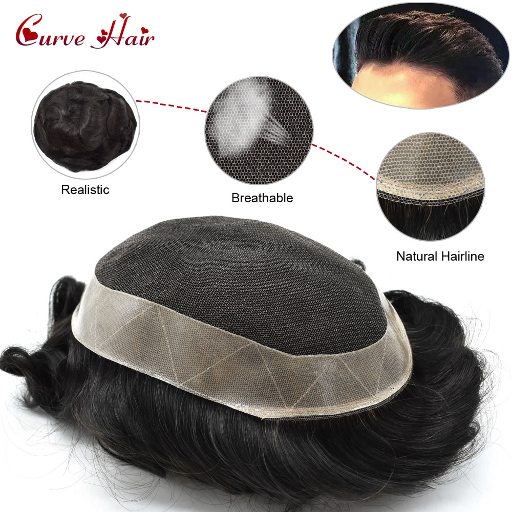 French Lace Mens Toupee Durable Mens Hairpieces Human Hair Replacement For Men D7-5 Brown Blonde Black Color