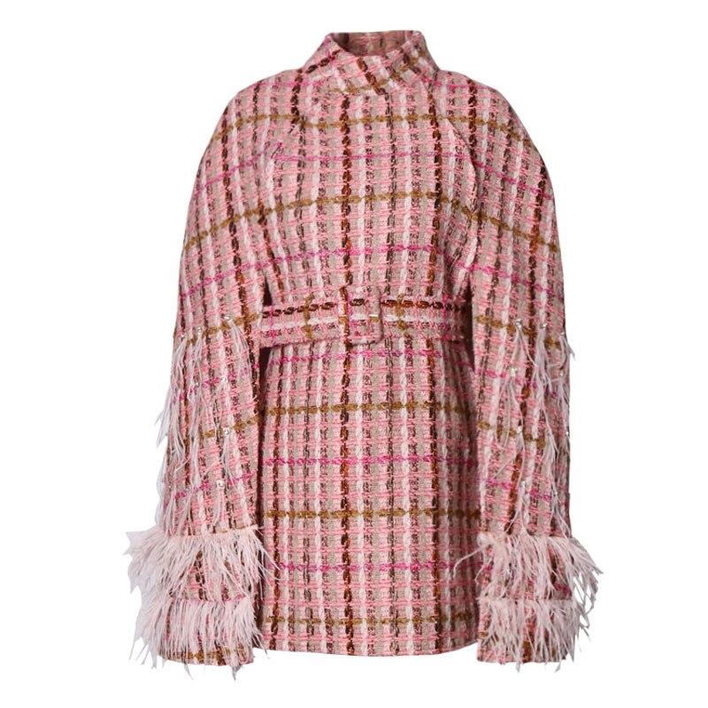 Women Winter Bats Cape Coat Cardigan Tweed Jacket Patchwork Feathers Diamonds Plaid Turtleneck Cloak Sleeve Embellished Clothes