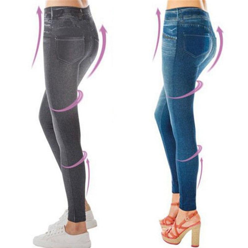 Hot Leggings Jeans Women Denim Pants With Pocket Slim Jeggings Fitness Plus Size Leggings S-XXL Black/Gray/Blue