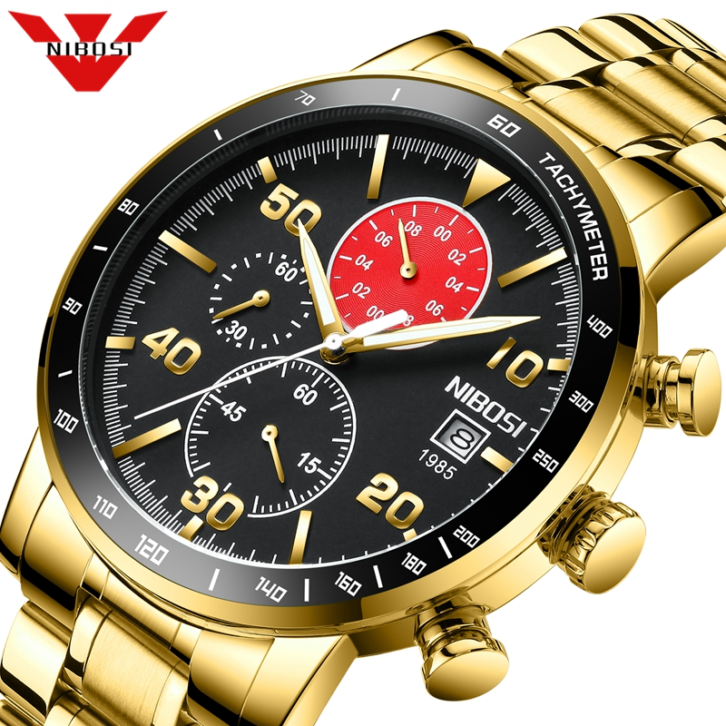 2020 NIBOSI Watches Mens Waterproof Analogue Clock Fashion Stainless Steel Waterproof Luminous Watch Men Sport Relogio Masculino