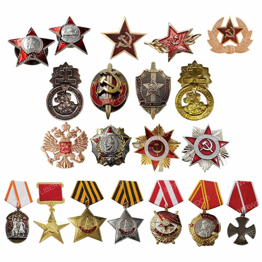 ROTEN STERN FSB Pin WWII UDSSR Sowjet CCCP Russland Russische Wachen abzeichen Imperial Eagle Emblem Lenin Abzeichen honor medaille Brosche anhänger