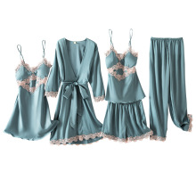 4PCS Pajamas Set Lace Patchwork Women Nighty&Robe Suit Intim
