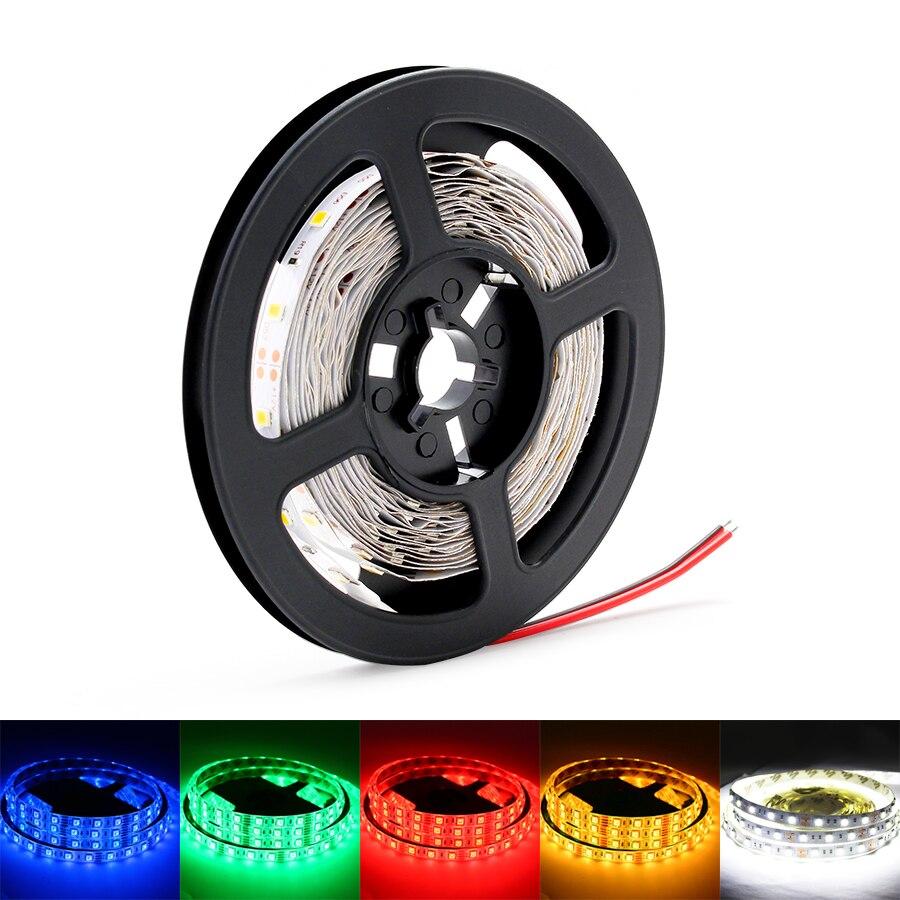2835 12V Led Strip Light 2835 RGB 5M Waterproof 12 V Volt DC 60LEDs/M RGB Led Strip Light Lamp Diode Tape TV Backlight Garland
