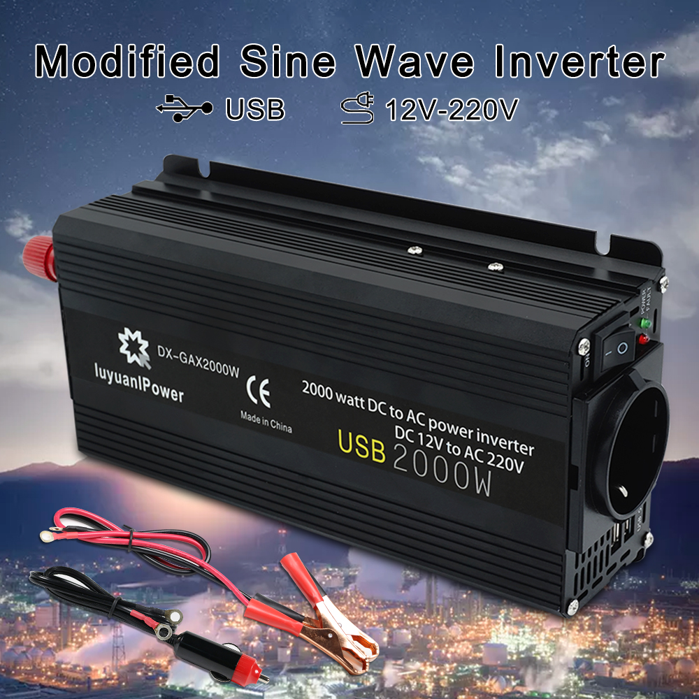 1500 Watt 24V Power Inverter Dual 120V AC Outlets Car Inverter 2 Battery Cables