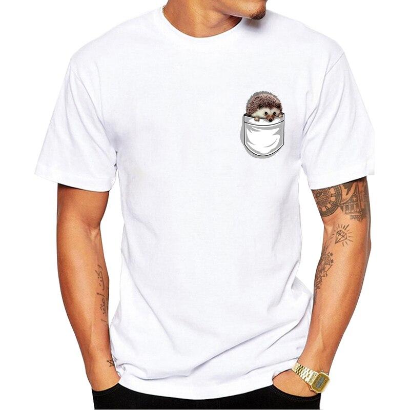 New men t-shirt Super Cute Pocket Hedgehog Print T-Shirt Funny Cartoon Design Guys White Casual Tops man Tees