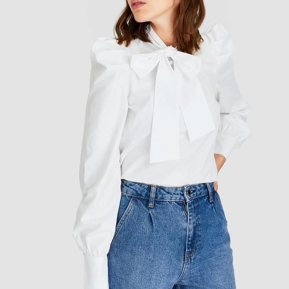 ZA 2020 New Spring  Blouse Shirt Women White Tencel Puff Sleeve Tops Bowtie Casual Ladies Blouse Female Woman Clothes