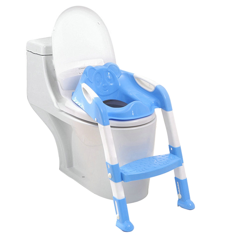 Baby Potty Training Seat Children'S Potty Baby Toilet Seat With Adjustable Ladder Infant Toilet Training Folding Seat Blue
