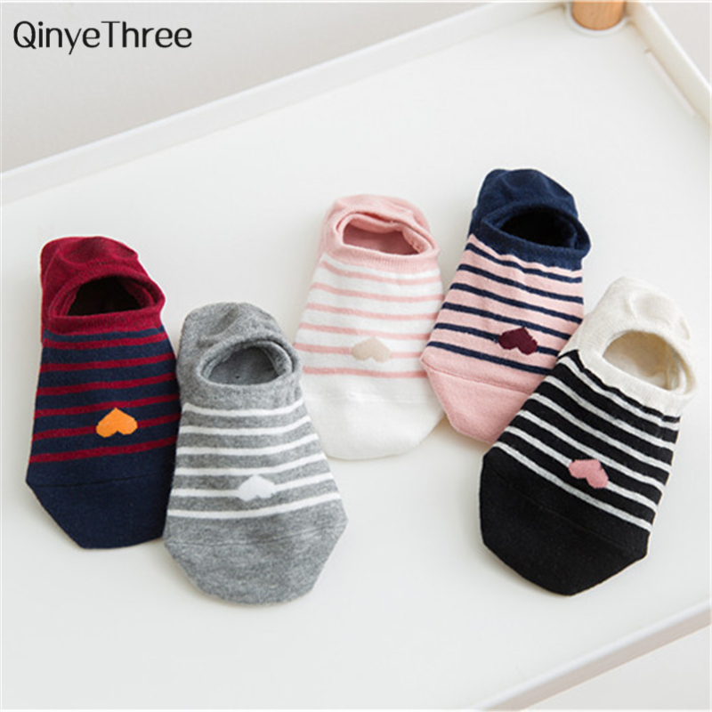New Women Love Heart Pattern Invisible Socks Cute Fresh Female Stripe Sokken Soft Girls' Cotton Sox Fashion summer Spring