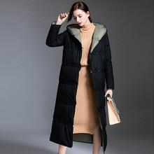 Shuchan Women Down Coats Jackets Warm Woman Parka Thick Lower Edge Detachable X-Long Single Breasted 90% White Duck