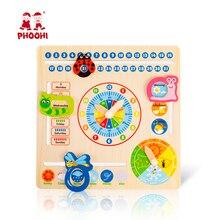 לוח עץ צעצוע משולב 6 ב 1 ילדי תליית שעון תאריך מזג אוויר תרשים מוקדם חינוכי למידה צעצוע