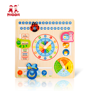 Image 1 - Wooden Calendar Toy Multifunction 6 in 1 Hanging Kids Clock Date Weather Chart Early Educational Learning Toy