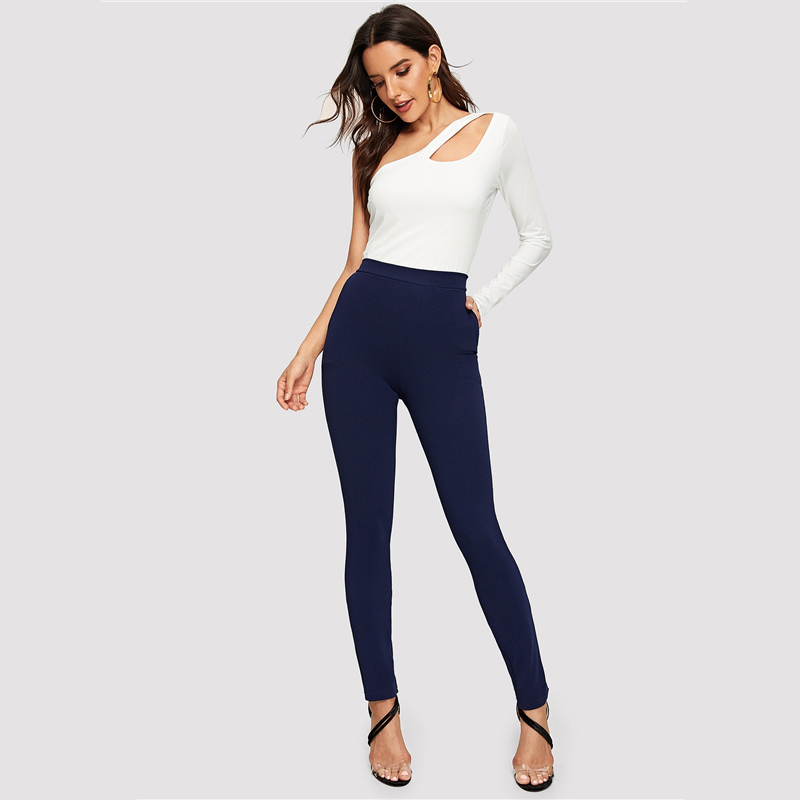 SHEIN Elastic Waist Mid Waist Skinny Trousers Autumn Office Lady Elegant Slim Fit Vertical Women Pencil Pants 23
