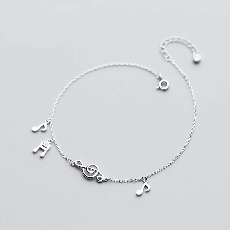 MloveAcc 925 Sterling Silver Cute Music Note Charm Anklet for Women Silver Ankle Bracelet Jewelry on Leg Chain Adjustable Length