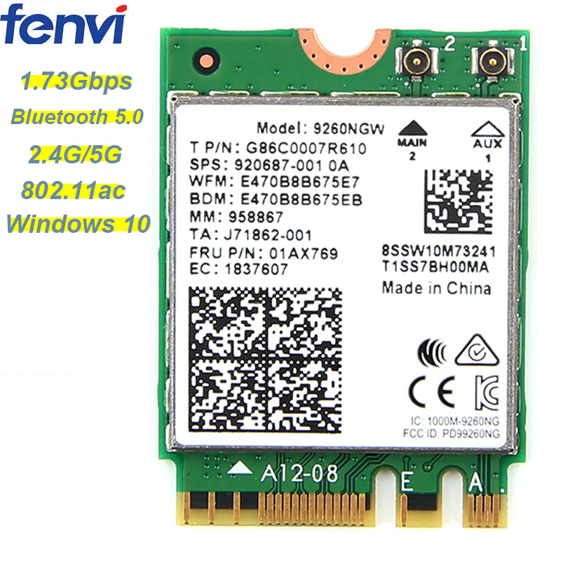 1.73Gbps Wireless Card NGFF Network Card For Intel 9260 2.4G/5Ghz 802.11ac  Bluetooth 5.0 For Laptop Windows 10