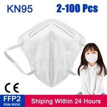 2-100 Uds FFP2 chico máscaras KN95 niños máscaras máscara reutilizable máscara protectora, maske 5 capas de Mascarillas tapabocas