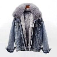 Winter Thick Warm Denim Jacket Women Fox Fur Collar Rabbit Fur Lined Jeans Jacket Loose Short Outerwear Female Chaquetas Mujer