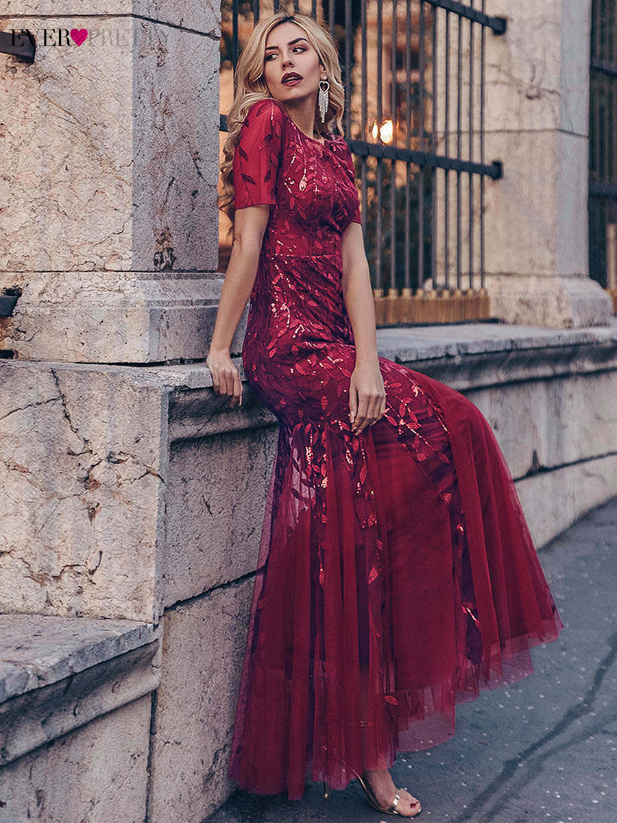 Robe Short-Sleeve Party-Gowns Evening-Dresses Lace Mermaid Tulle Ever Pretty Appliques