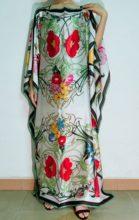 Уникальные европейские печатные шелковые платья Кафтан длина