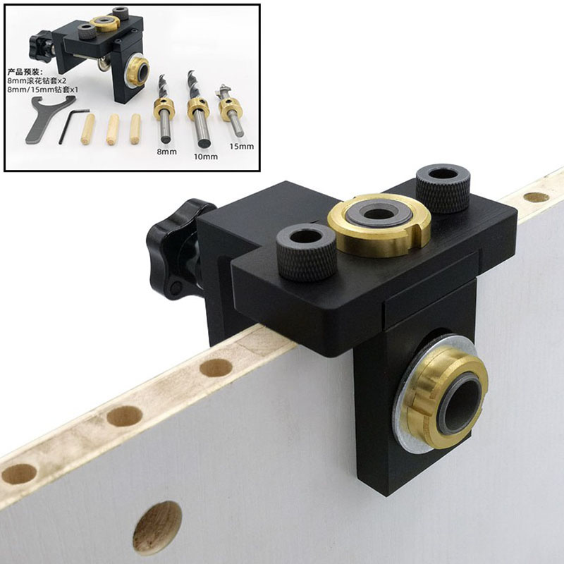 Woodworking Pocket Hole Jig Kit 3 In 1 Doweling Jig 8/15mm Wood Drilling Guide Locator Adjustable Dowel Jig Woodworking Tool