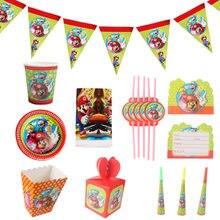 Fournitures de décoration de fête Super Mario, Ballons assiettes nappe drapeaux d'anniversaire tasses vaisselle jetable jouets pour enfants