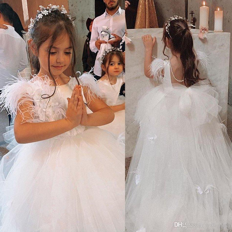 Christening Baby Dress Ball Gowns White Feather Princess  Chriistening Dress Elegant Flower Girls Dress Custom Made