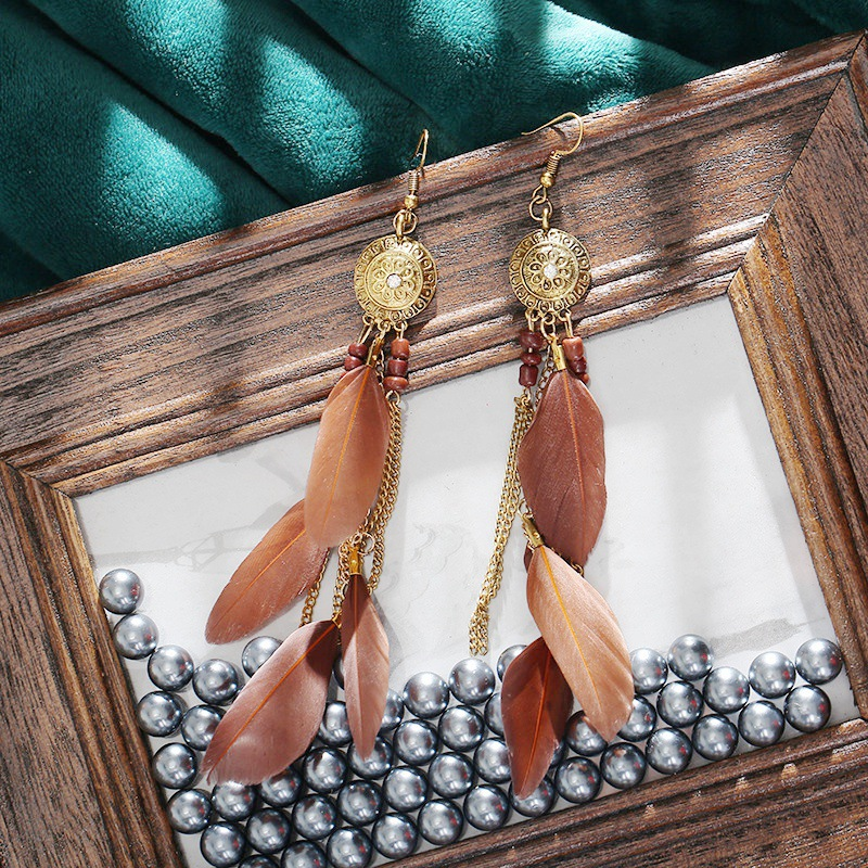 Vintage Bohemian Feather Earrings 2020 Women Ethnic Style Retro Sunflower Tassel Dangle Drop Earrings Jewelry