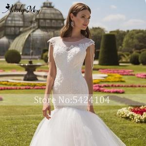 Image 4 - Romantic Scoop Neck Lace Up Mermaid Wedding Dresses 2020 Luxury Cap Sleeve Beaded Appliques Court Train Princess Wedding Gowns